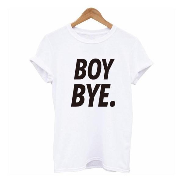 Atacado-Verão Moda T-shirt Mulheres MENINO BYE Carta Impressão T Shirt  Mulheres Preto Branco Encabeça Ocasional Da Marca T Shirt Femme Roupas  Femininas 5f4fd32b4240c