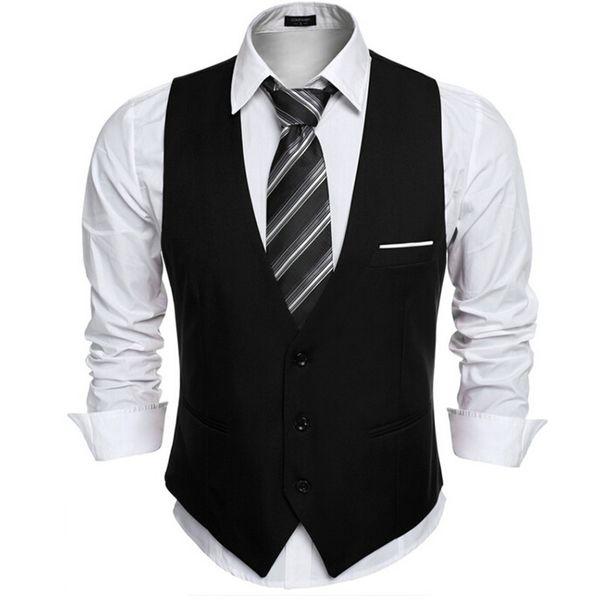 Dress Vests For Men Slim Fit Suit Vest Male Waistcoat Gilet Homme Casual Sleeveless Formal Business Jacket Waistcoat