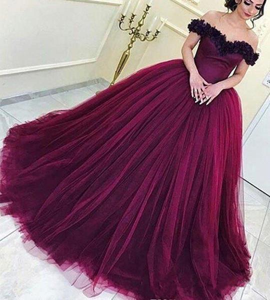 Vino rojo Quinceañera Vestidos Princesa árabe con volantes en el hombro Dulce 16 edades Muchachas largas Fiesta de graduación Vestido de fiesta por encargo