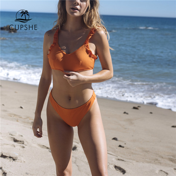 CUPSHE Active Orange Ruffles Thong Bikini Sets Women Solid Tied Bow Crop Tank Two Pieces Swimwear 2018 Girl Sexy Swimsuits