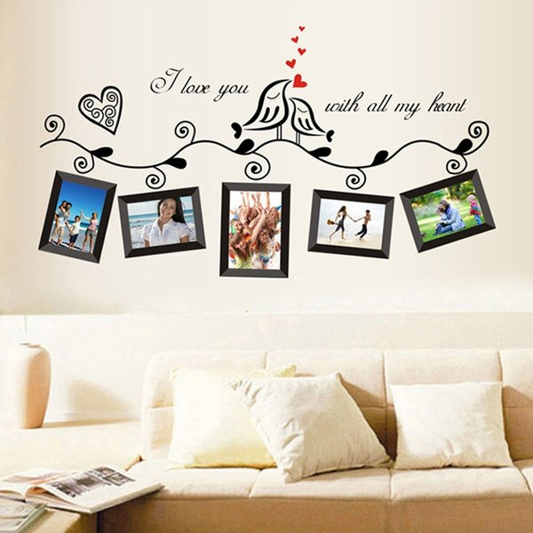 Urijk Photo Frame Wall Stickers Bedroom Living Room Decor PVC PVC Green Stickers For Wall Sofa Window Frame Mural Poster
