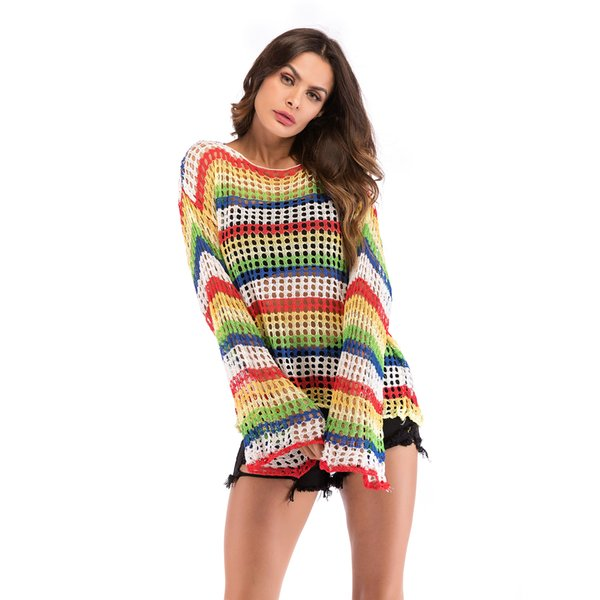Thin section women's rainbow striped knit openwork blouse autumn fashion contrast color sweater loose pullover top