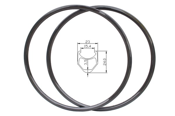 365g ultra light 24mm cyclocross cx bicycle carbon rims 3K glossy finish 23mm width road disc brake 24H/24H carbone bicycle rims