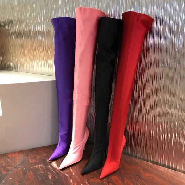 2018 new arrival red over the knee high heels stilettos fashion boots shoes for woman stretch fabric thigh high boots