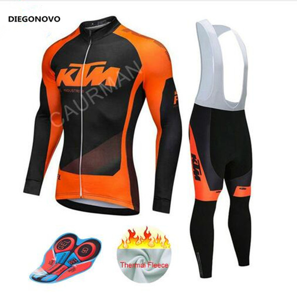 2018 KTM Cycling Jersey Men Pro Team Winter Thermal Fleece Long Sleeve MTB Clothing Breathable Bib Pants Gel Pad Ropa Ciclismo