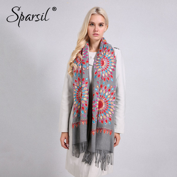 Sparsil Women Quality Soft Cashmere Scarves Sun Flower Embroidery Warm Long Shawls Winter Knitted Scarf All Match Pashmina Wrap D18102406