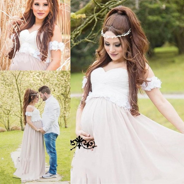 2018 Cheap New White Chiffon Pregnant Maternity Wedding Dresses 3D Flowers Peplum A Line Off Shoulder Long Plus Size Formal Gown Custom Made