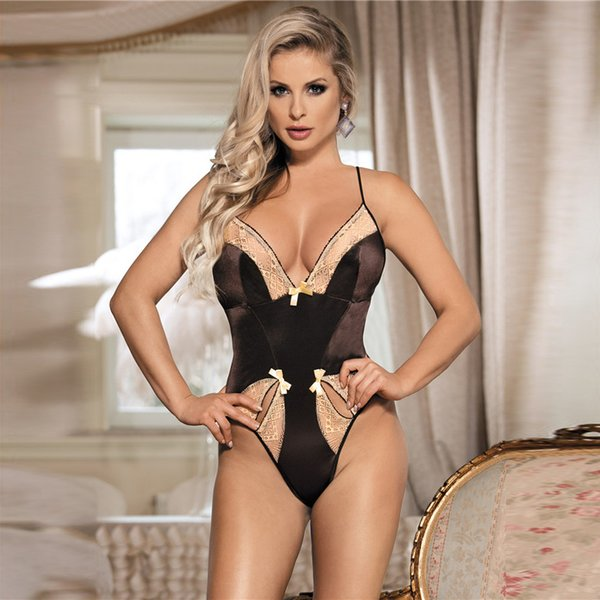 Коричневый Холтер Sexy Bodysuit кружева плюс размер Тедди белье Sexy Womens Low-cut Backless лук эротическое белье передние два отверстия S927