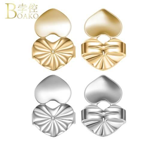 top popular BOAKO Earring Backs Support Lifts Lifters Heart Shape Gold Silver Rose Gold Color for Stud Earrings Jewelry Accessories Z4 2019