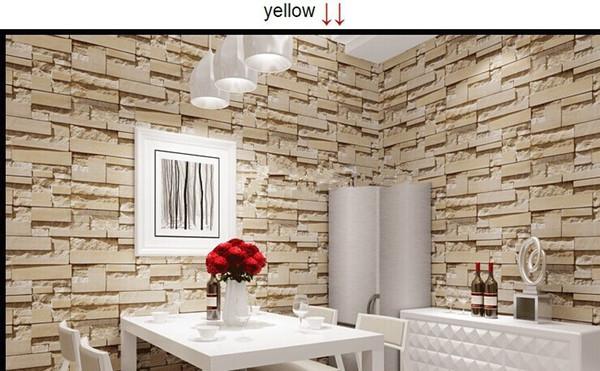 Neuer Art 3D Luxus Holzblockeffekt Braun Stone Brick 10M Vinyltapete Rolle Wohnzimmer Hintergrund Wand-Dekor-Wand-Papier
