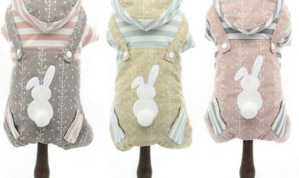 Dog clothing, teddy bear, Pong Mei, small dog, pet dress, striped rabbit, four legged strap.