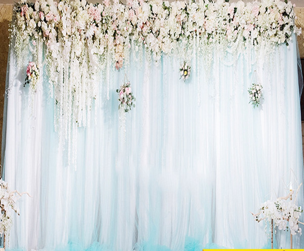 fairy white pink purple wed backdrop curtain cloth and sheer curtain 3*3 M for wed stage decoration