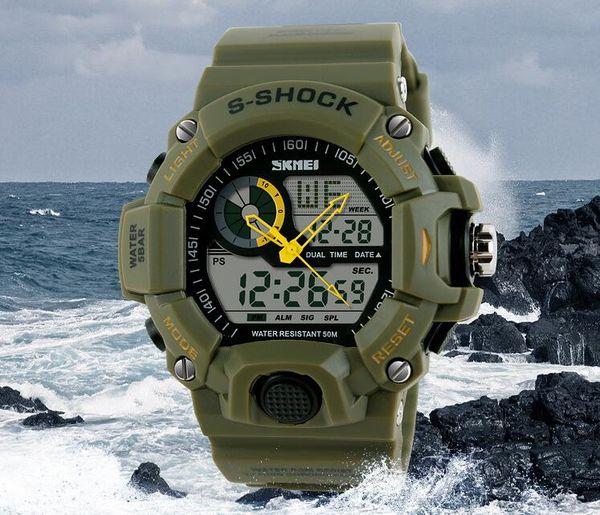 Tactical Watch Men Montre S-Shock Digital Watch Outdoor Sport Dual Time Waterproof 50M Travel Chronograph Clock.