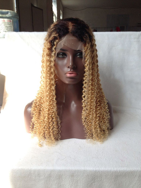 100% Human Hair Full Lace Blonde Wig Ombre Color 1B 613 Two Tone Kinky Curly Front Lace Wigs Dark Root With Baby Hair for White Woman