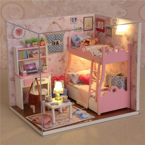 Juguetes de casa de muñecas de madera hechos a mano con muebles de montaje diy modelo miniatura kit niños adultos belleza regalo para niña mujer
