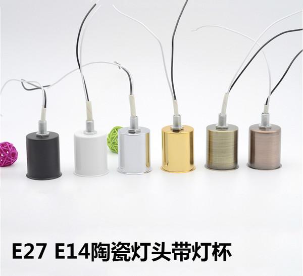 E14 E27 Keramik Lampensockel mit Metall Cupceramic feuerfeste kleine Schraube Lampenfassung Deckenleuchte Wand Anhänger DIY Zubehör