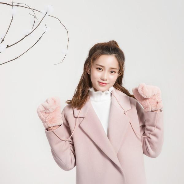2018 nuovo inverno dolce giapponese donne Guanti Chic invernali caldi guanti di lavoro a maglia di lana Faux Nero Rosa Taglia Unica