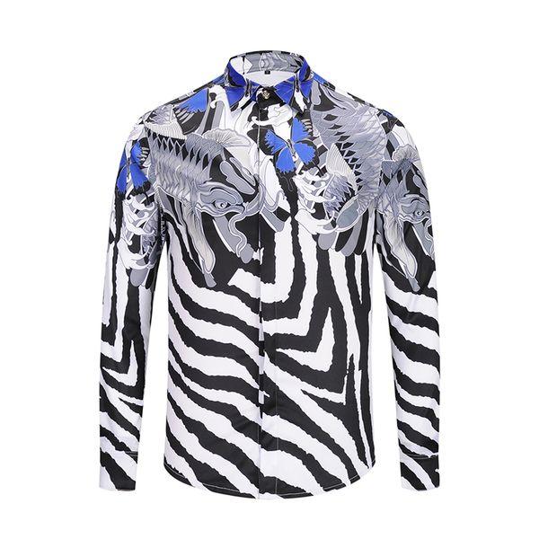 2018 Tasarımcı Gömlek Erkekler Zebra Baskı Lüks Casual Slim Fit Şık Gömlekler Uzun kollu Erkek Gömlek Pamuk Moda Giyim M-2XL
