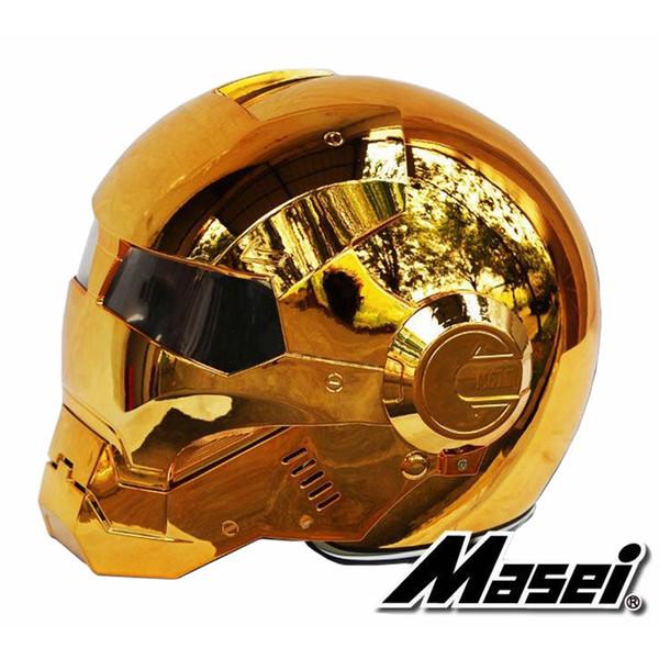 MASEI 610 electroplate Bronze plating Gold Chrome IRONMAN Iron Man helmet motorcycle helmet half open face helmet ABS motocross
