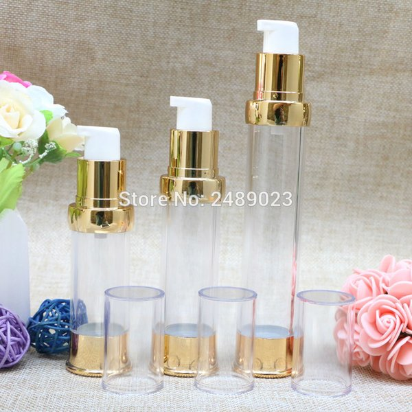 High-grade Mini 15ml 20ml 30ml Gold Refillable bottles Cosmetic Packaging Airless Bottles Plastic Makeup Container 10pcs/lot