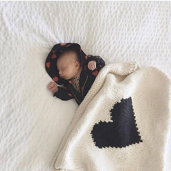 Compre Lindo Bebé Infant Knit Mantas Ins Love Heart Crochet Punto De ...