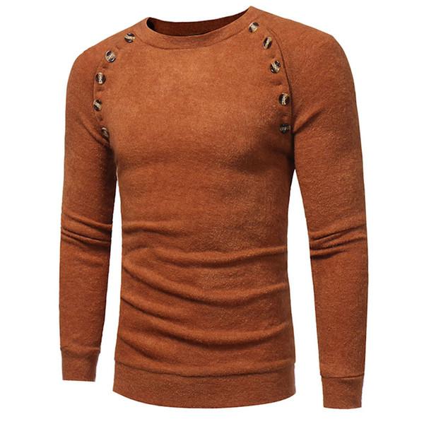 2018 новый бренд Мужские свитера мода О-образным вырезом твердые кнопки мужчины свитера дизайн с длинным рукавом пуловер