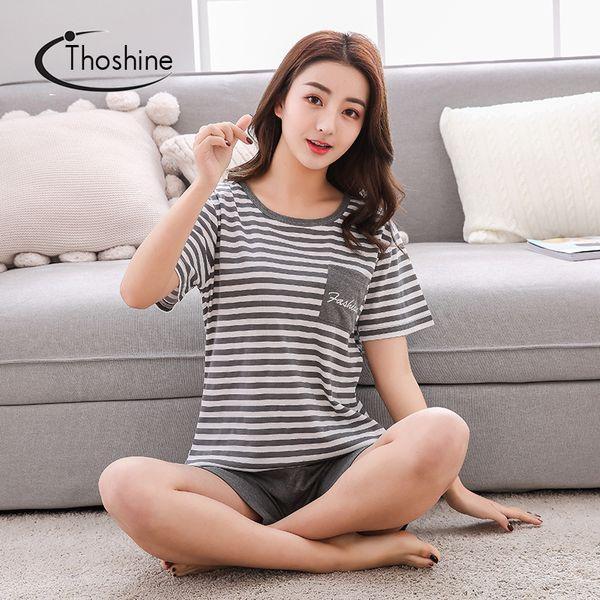 Thoshine Brand Summer Style Women 100% Cotton Pajamas sets Striped Short Sleeve Female Pocket Sleepwear Lounge wear Home Clothes
