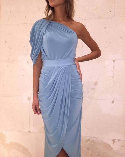 New Design Sheath One Shoulder Tea Length Evening Dresses 2019 Pleated Jersey Formal Party Gowns For Elegant Ladies robes de soirée