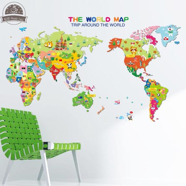 Compre Animal World Map Wallpaper Para Habitaciones De Niños Decoración Para El Hogar Calcomanías De Arte Sofá 3d Decoración De La Casa Diy Pegatinas