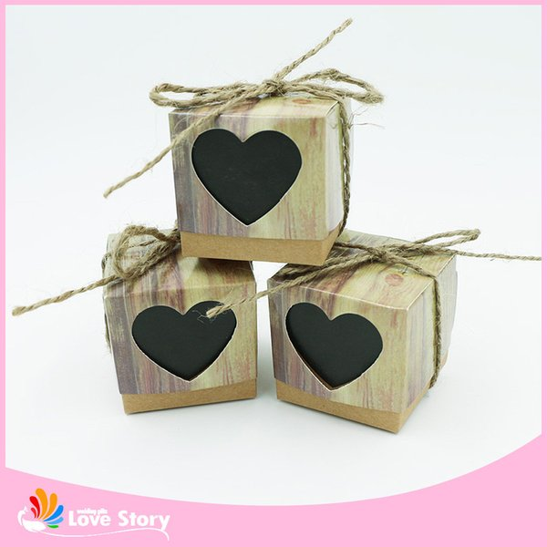 New 50pcs Sweet Heart Love Rustic Kraft Wedding Favors Gift Boxes Party Candy Box Wedding Decorations Party Supplies