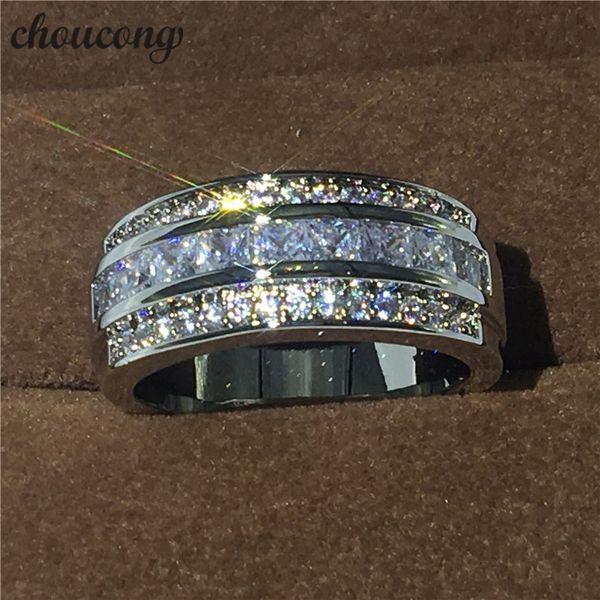 Vente chaude Bijoux Homme bague 3mm Diamant or blanc rempli Parti Fiançailles Bague De Mariage pour Hommes Taille 5-11
