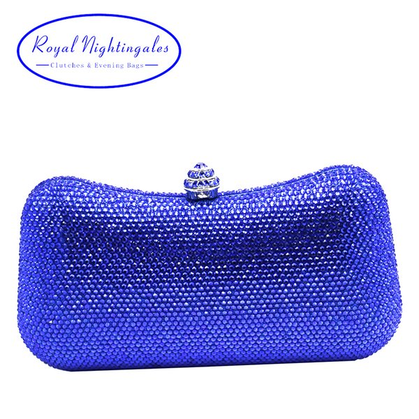 Luxury royal blue hard case box clutch evening bag crystal clutch bag for womens wedding party evening matching shoes