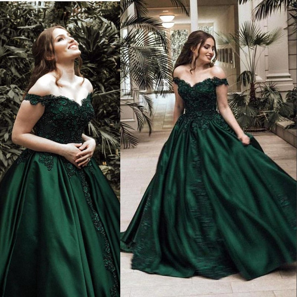 Arabic Dark Green Ball Gown Evening Dresses Formal Elegant Off Shoulders Appliqued Sequined Satin Long Pageant Prom Gowns BC0009