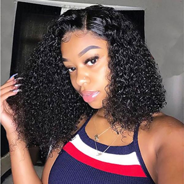 Luckystar Peruk 180% Yoğunluk Siyah Kısa Afro Kinky Kıvırcık Peruk Isıya Dayanıklı Fiber Saç Sentetik Dantel Ön Peruk Kadınlar için Doğal Saç Çizgisi