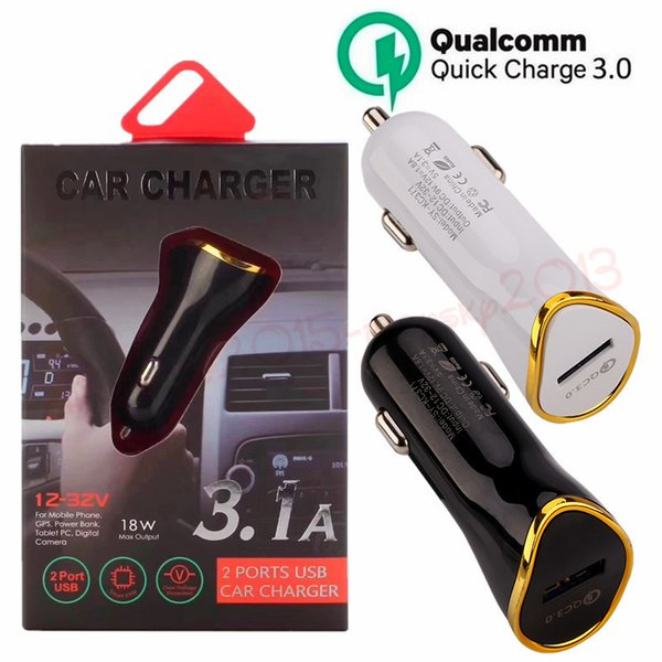 car charger 5V 3.1A Qc 3.0 Fast Quick charging Car chargers for gps mp3 pc camera