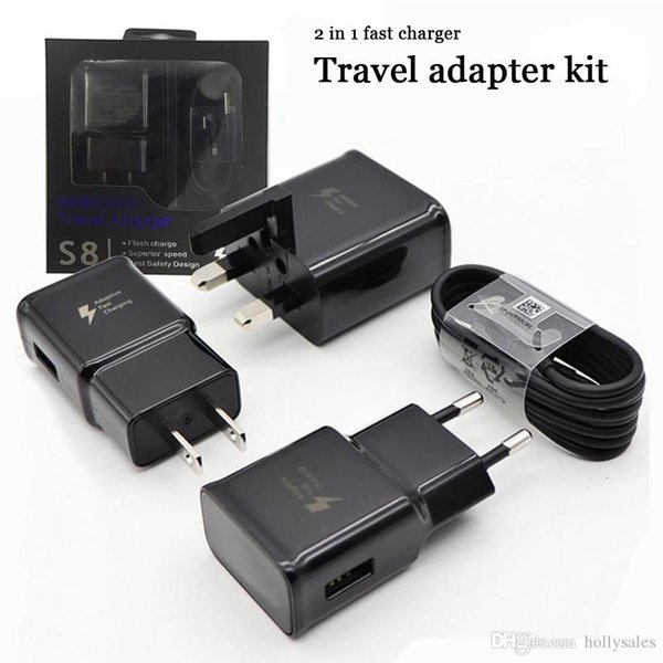 Quality 2 in 1 fast charger kit 9v 1.67A 5v2a QC 2.0 power adapter fast charging dock EU UK US PLUG WALL charger adapter with retail package