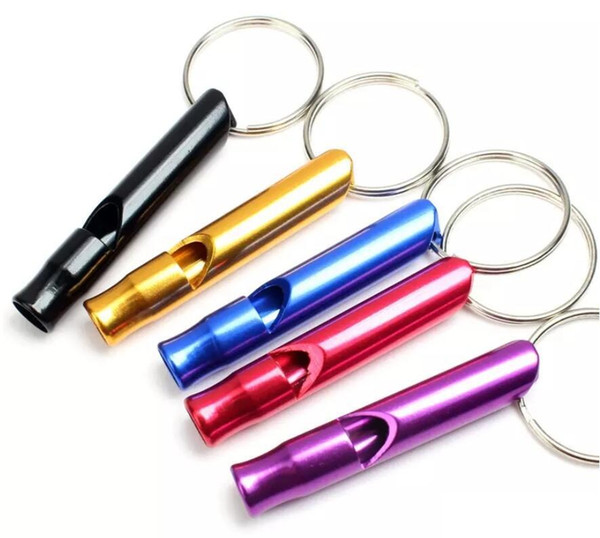 2018 Hot Sale Mini Aluminum Whistle Dogs Whistle For Training With Keychain Key Ring Free Shipping 1200pcs
