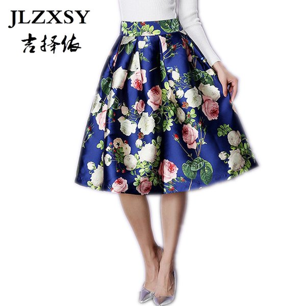 Wholesale- JLZXSY 2017 Vintage Hepburn Style Floral Print High Waist Ball Gown Midi Pleated Swing Skirt