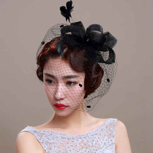 Free Shipping Hot Sale Black Red Ivory Birdcage Net Wedding Bridal Fascinator Hats Face Veil Feather Flower for Party Accessory