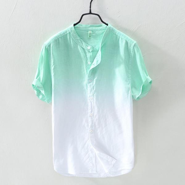 Erkek Degrade renk kısa kollu keten gömlek yeşil turuncu mavi yaz casual gömlek erkekler Mandarin yaka erkekler için renkli gömlek