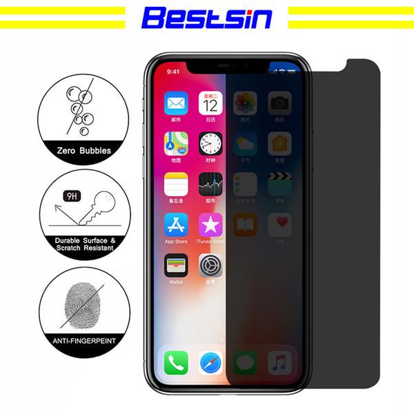 Bestsin iphone x 8 7 6 s 5 s artı gizlilik ekran koruyucu kalkan anti-casus gözetleme gerçek temperli cam perakende paketi