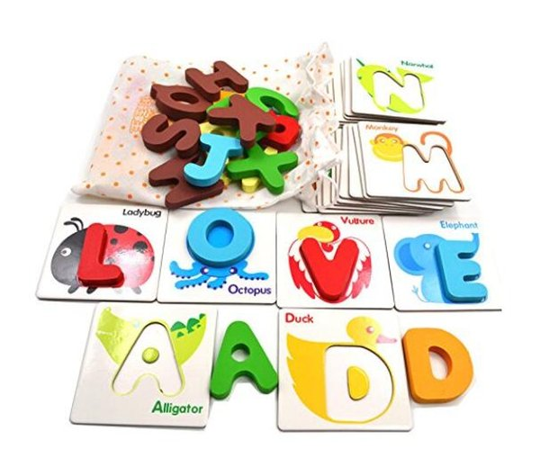 top popular 26 Pcs Wooden Early Educational Preschool English Learning ABC Alphabet Letter Cards Cognitive Toys Animal Match Puzzle 2019