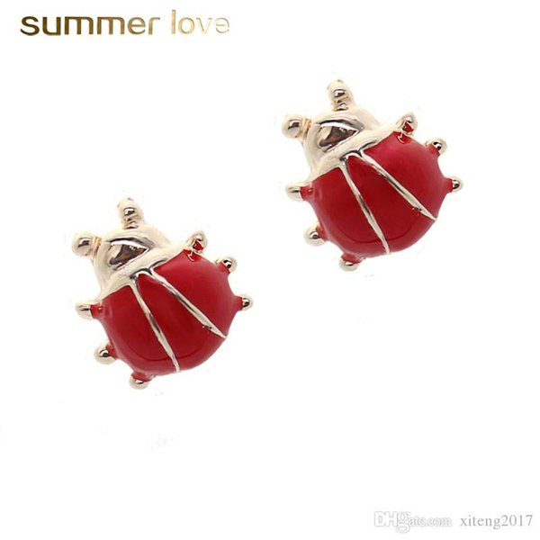 New 1cm red ladybug stud earrings set for women cheap price fashion jewelry for girls women korean style jewellery gift