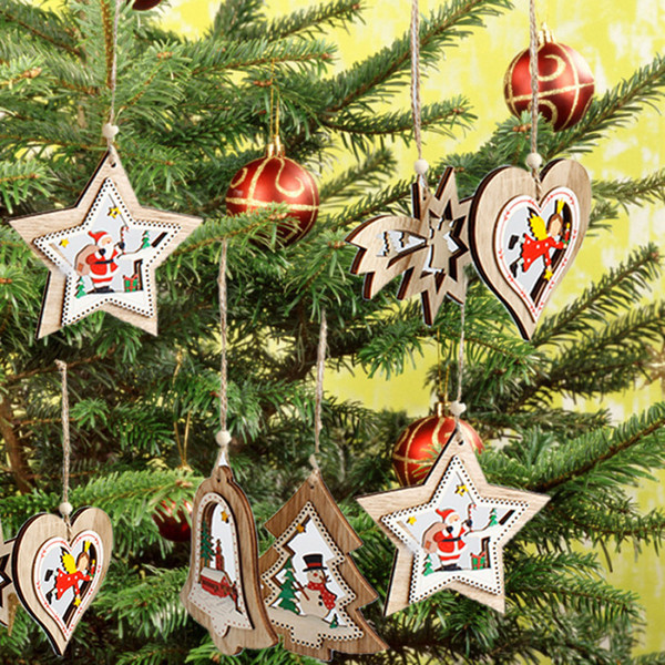 New Christmas Wooden Hanging Decor Christmas Tree Ornament Party Home Xmas Pendant Decor New Year Decoration Hand Made Gift bag