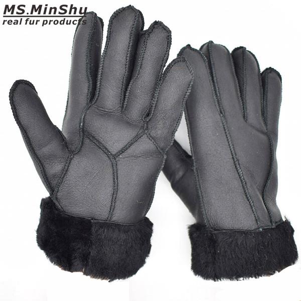 Women Sheepskin Gloves Genuine Leather Gloves Women Winter Thick Mittens Hand Warmer Female Real Fur Gloves Sheepskin Ms.MinShu