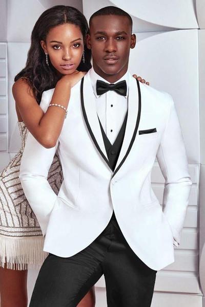 White 3 Piece Suit Men Wedding Tuxedos Bridegroom Groomsmen Suit High Quality Men Business Dinner Prom Blazer(Jacket+Pants+Bows Tie+Vest)256