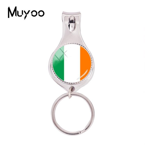 2018 Fashion Ireland Flag Multifunctional Keychain Hand Craft Nail Clipper Keyring Silver Glass Dome Jewelry Nail Clippers
