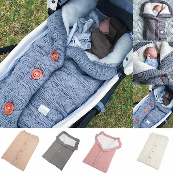 Botón de bebé Bolsas de dormir de punto Saco de dormir de cochecito de recién nacido Niño otoño invierno Wraps Envoltura 5 colores hoja de cama infantil MMA1072