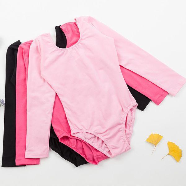 best selling Professional Girls Ballet Leotard Long Sleeve Lovely Dance Wear Toddler Kids Cotton Gymnastics Leotard With Snap Crotch 3221