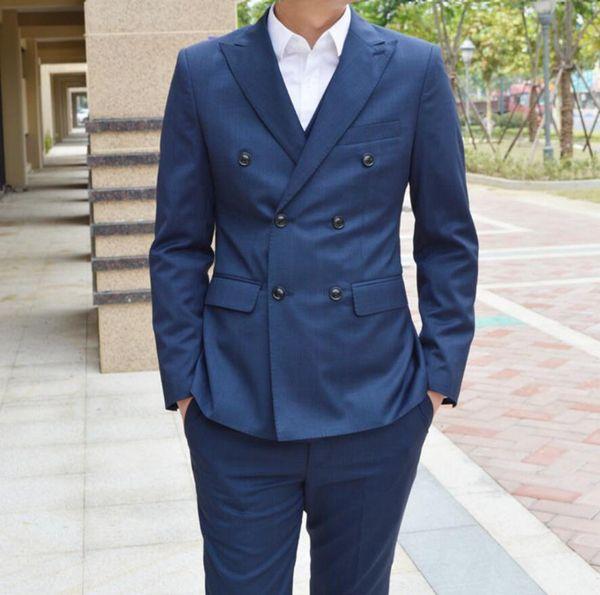 Formal navy blue double breasted men suit wedding suits for men slim fit tuxedo business street suit jackets groomsmen 2 pieces